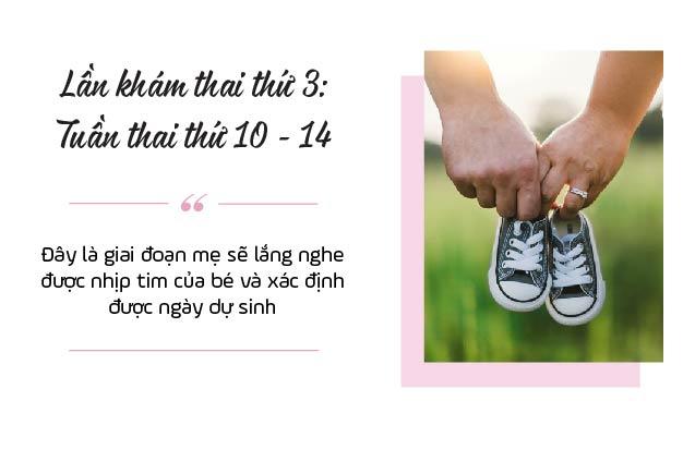 Lần khám thai thứ 3: Tuần thai thứ 10 -14
