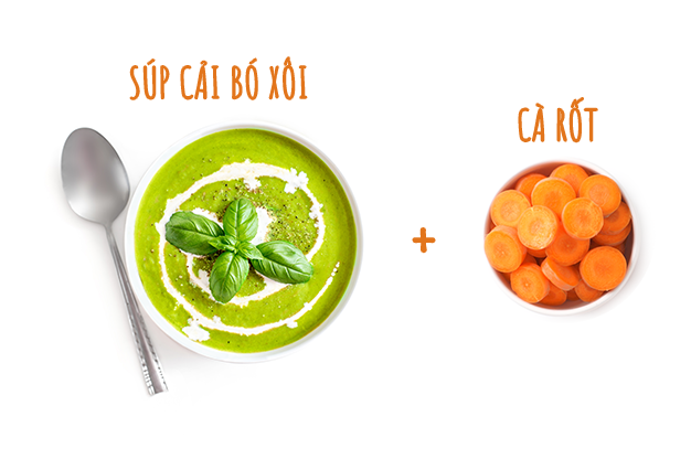Cải bó xôi và cà rốt là món ăn dặm giàu vitamin A