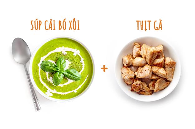 Súp cải bó xôi + thịt gà