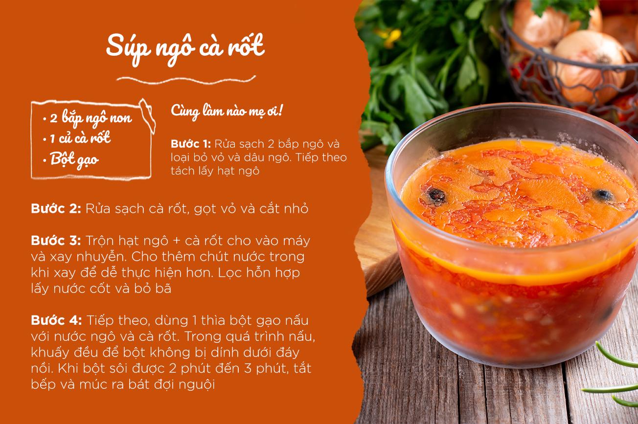 Súp ngô với cà rốt