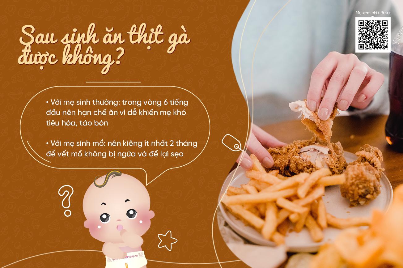 Sau sinh ăn thịt gà được không?