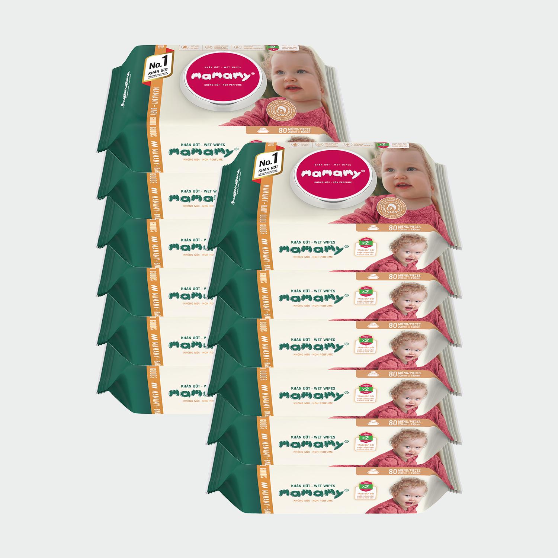 Combo 12 gói Khăn ướt Mamamy 100 tờ có nắp, có mùi/không mùi an toàn cho bé