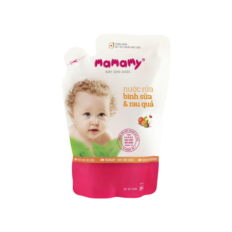 [Quà tặng] Túi bổ sung nước rửa bình sữa và rau quả Mamamy 600ml