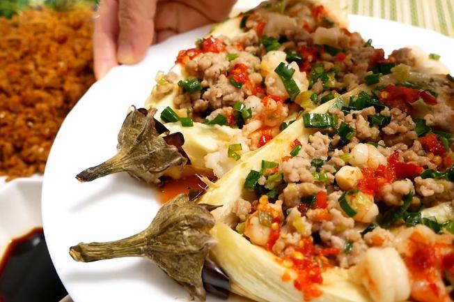 xào cà tím với tôm thịt
