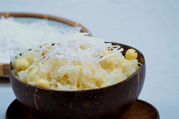 nấu xôi đậu xanh hạt sen cốt dừa