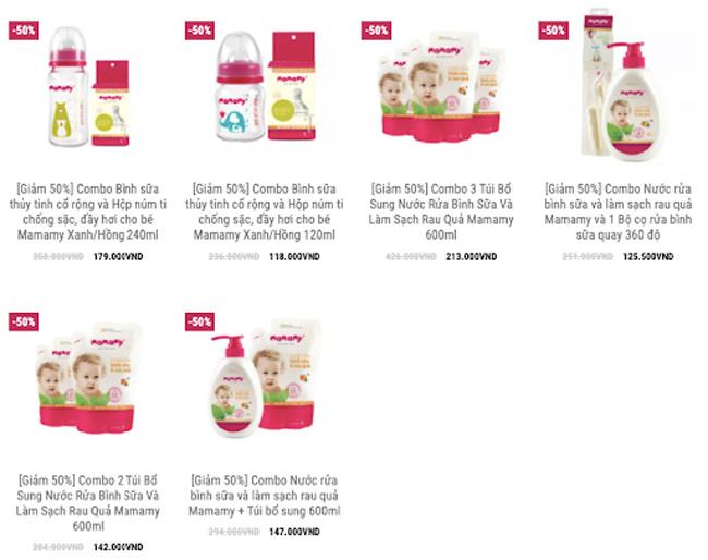 Rất nhiều ưu đãi khi mua nước rửa bình sữa và rau quả trên website Mamamy