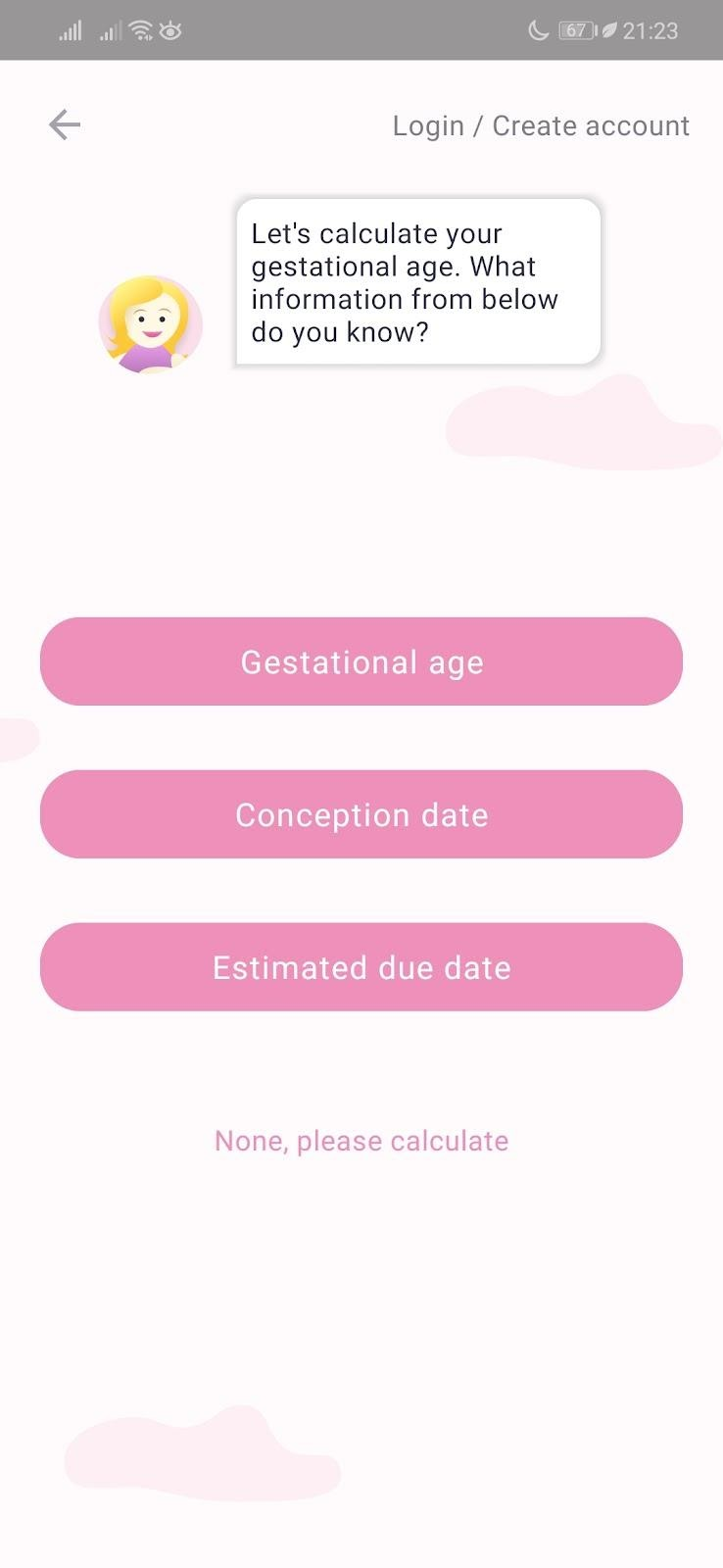 Giao diện ứng dụng Theo dõi thai kỳ
