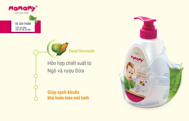 """Bộ dụng cụ cọ rửa và nước rửa bình sữa và hoa quả chuyên dụng Mamamy là """"cặp bài trùng"""" đánh bay mọi vi khuẩn"""