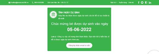 Công cụ tính ngày dự sinh Online Momcare24h