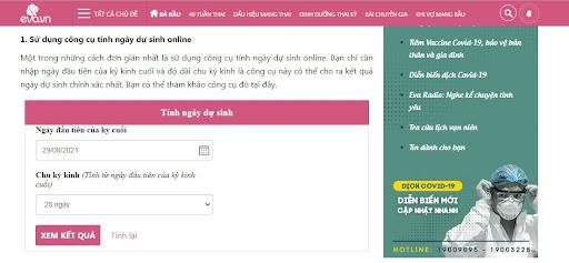 Công cụ tính ngày dự sinh Online Eva.vn
