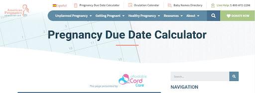 Công cụ tính ngày dự sinh Online American Pregnancy Association