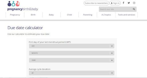 Công cụ tính ngày dự sinh Online Pregnancy birth and baby
