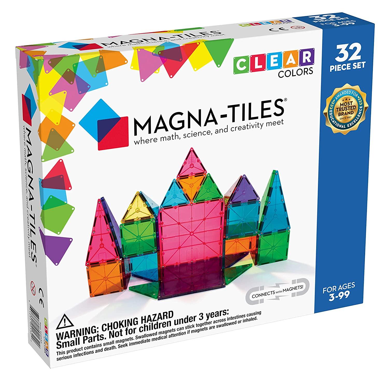 Bộ 32 miếng Magna-Tiles Clear Colors cho bé 3 tuổi