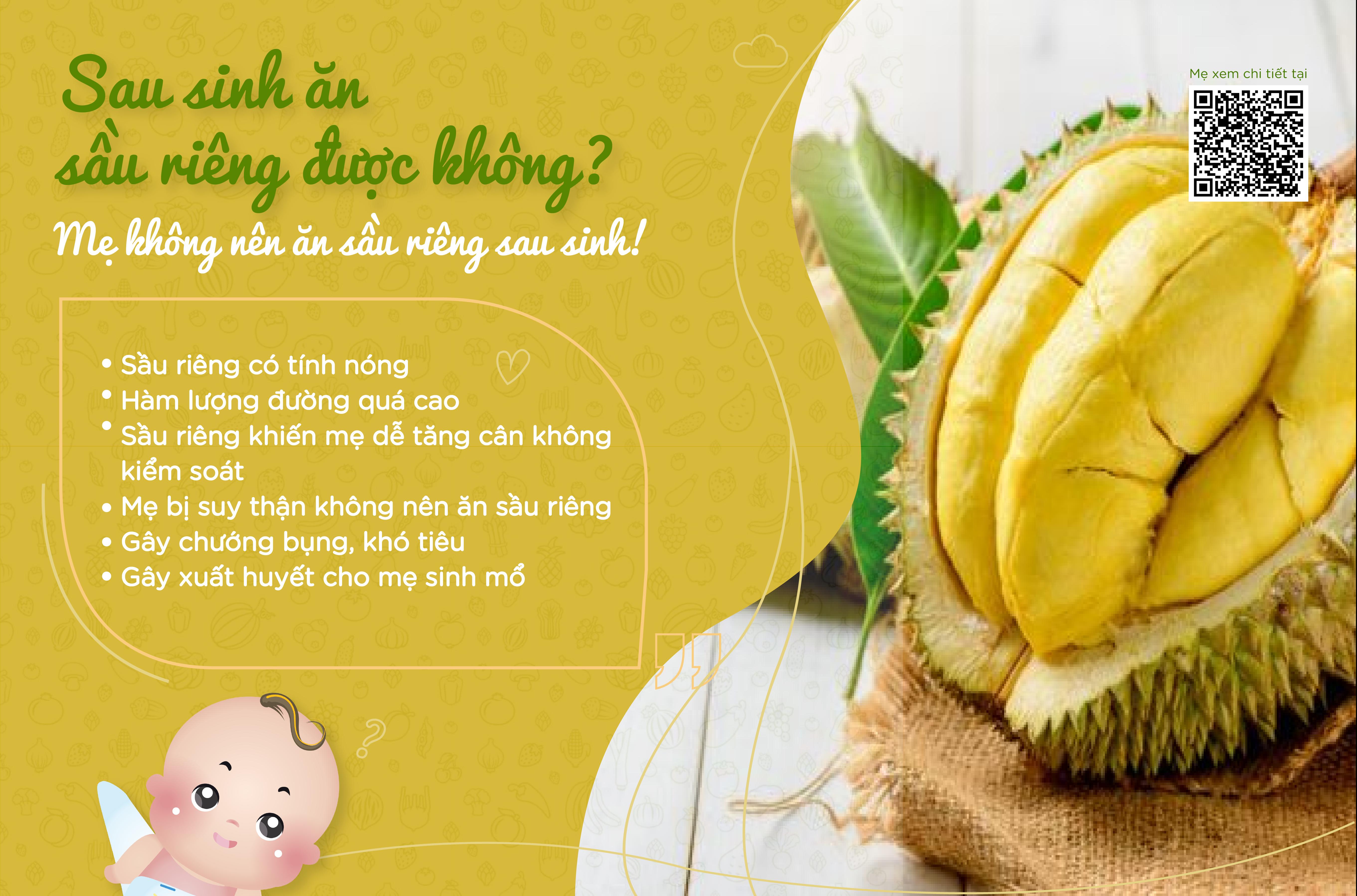 Sau sinh ăn sầu riêng được không?