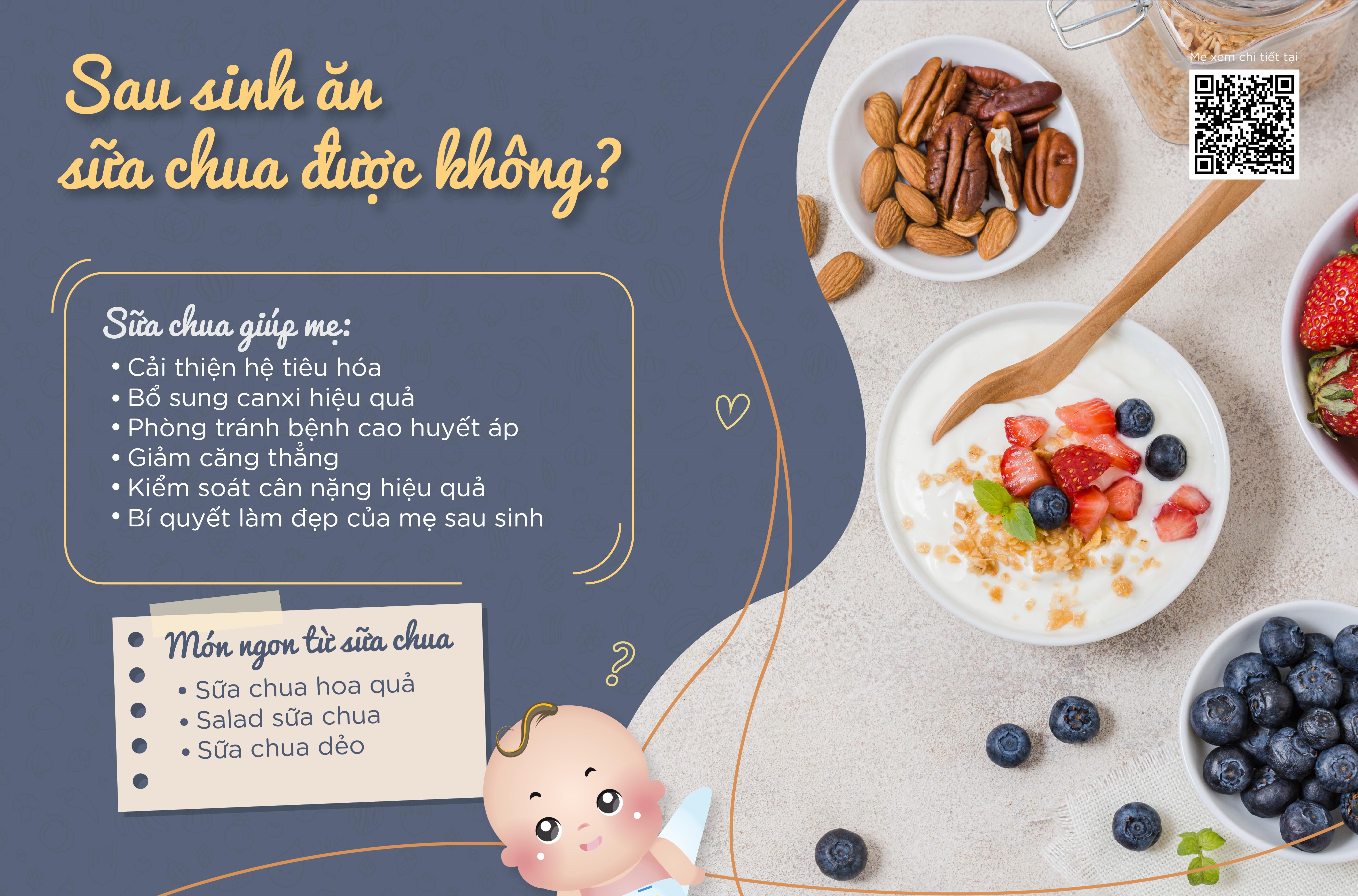 Sau sinh ăn sữa chua được không?
